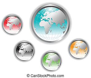 globe terre, button.