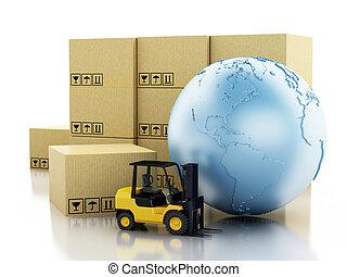 globe terre, carton, boxes., 3d