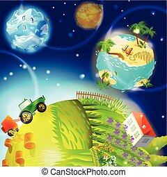 globe terre, dessin animé, gabarit, nature