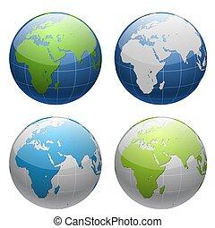 globe terre, ensemble, 3d, icône