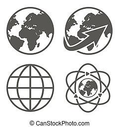 globe terre, ensemble, icônes
