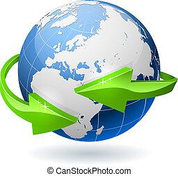 globe terre, entouré, flèches, radial