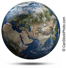 globe terre, -, eurasie