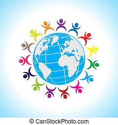 globe terre, gens