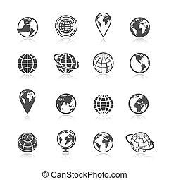 globe terre, icônes