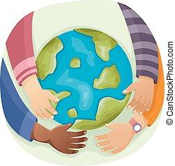 globe terre, jeune, mains
