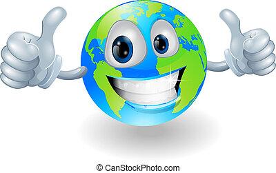 globe terre, mascotte, haut, pouces