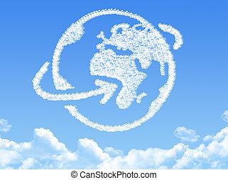 globe terre, nuage, formé