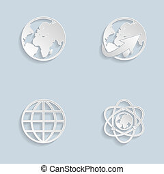 globe terre, papier, ensemble, icônes
