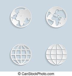 globe terre, papier, icônes