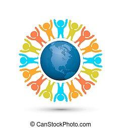 globe terre, planet., gens