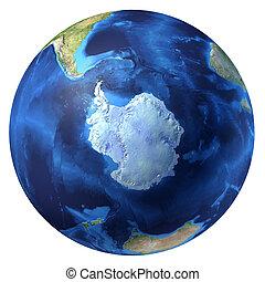 globe terre, réaliste, 3, d, rendering., antarctique,...