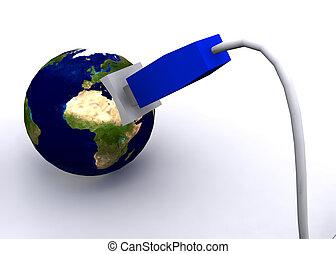 globe terre, réseau, câble
