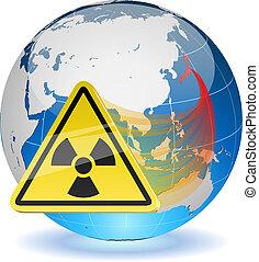 globe terre, radiation, signe danger