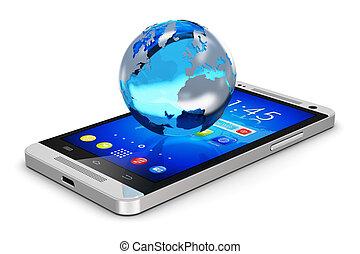 globe terre, sur, smartphone