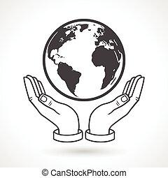 globe terre, symbole, tenant main