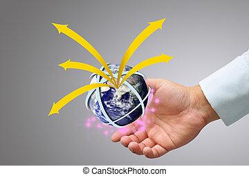 globe terre, tenant main
