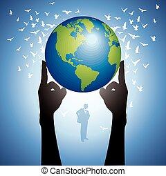 globe terre, tenant mains