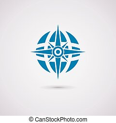 globe terre, vecteur, compas