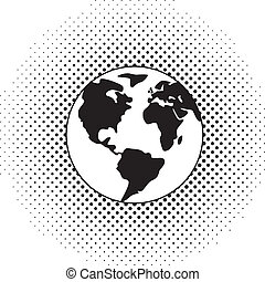 globe terre, vecteur, noir, blanc