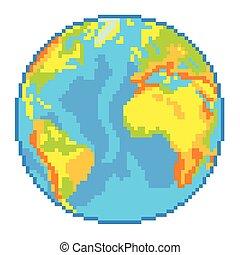 globe terre, vecteur, pixel, isolé