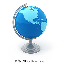globe terrestre, blanc, isolé