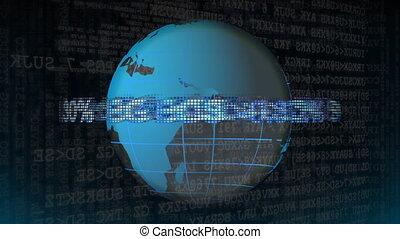 globe, ticker, marché, stockage