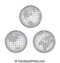globe, tout, continents