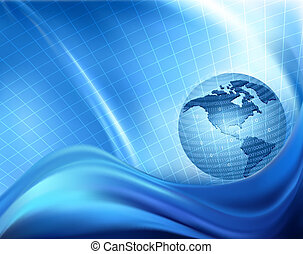 Globe trapped in a sphere made of binary code. Concept of global programming. Vector background
