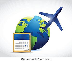 globe travel calendar illustration design over a white...