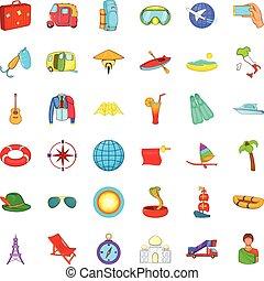 Globe travel icons set, cartoon style