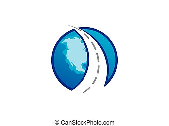 globe trip travel road abstract vector logo