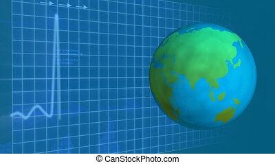 Globe turning around itself with grid cardiogram on background