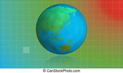 Globe turning around itself with sizzle squares falling on retro background