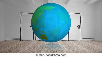 Globe turning with cartoon door 4k