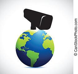 globe under surveillance illustration design