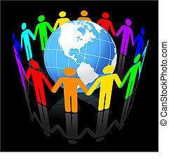 Globe Under Unity Original Vector Illustration Globe Ideal...