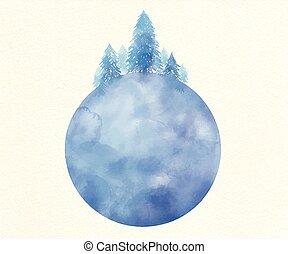 globe, vecteur, arbre, illustration, aquarelle