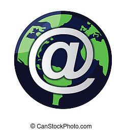 globe, vecteur, email, /
