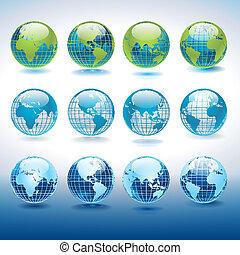 globe, vecteur, ensemble, icônes