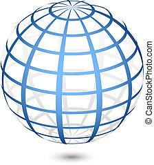 globe, vecteur, icône