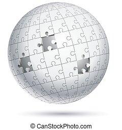 globe, vecteur, illustrations., sphere., puzzle, puzzle
