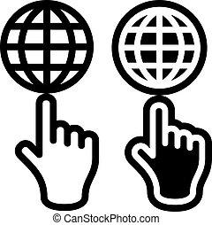 globe, vecteur, noir, symbole, main