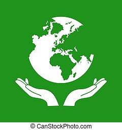 globe, vecteur, vert, tenant mains, la terre