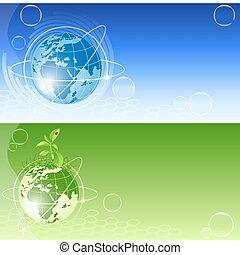 globe, vector, achtergronden