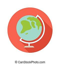 Globe vector flat style icon on round badge