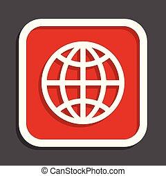 Globe vector icon. Flat design square internet red button.