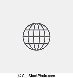 globe vector icon of grey outline for illustration