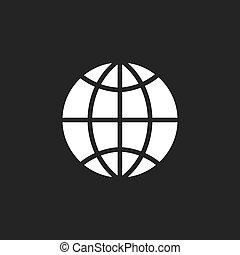 Globe vector icon on black background