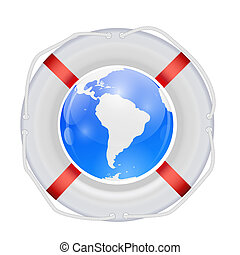 globe, vector, lifebuoy., illustration.